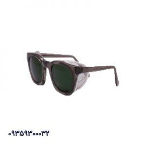 عینک ایمنی فریم دار بغل توری سبز
